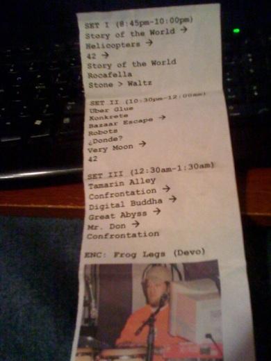 Band Setlist - 9/12/09