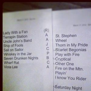 3/17 Setlist
